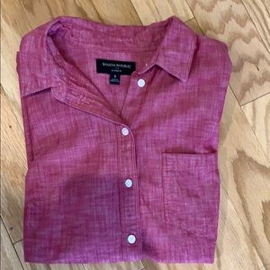 Red classic fit button down